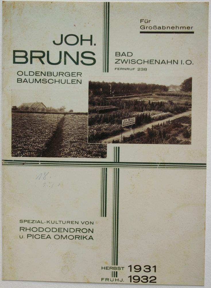 Schon seit 1931-32 Werbung durch Katalog und Anzeigen